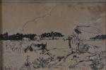 Gustav Epstein, Nanquim, `Laçador` -med. 10x15cm