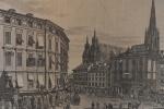 Antiga gravura européia com cena urbana -med. 25x38cm moldura com vidro quebrado e com ação de insetos