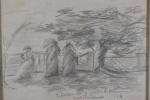 José de Francesco, Desenho, `Entardecer na praça do Harmonia` -med. 13x21cm