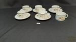 6 Xicaras, 5 pires de  Cha Porcelana Renner Medailon  floral Friso Prata,