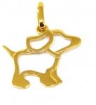 Pingente Em Ouro Amarelo 18k Cachorro, Peso: 0,5g, Tamanho: 16,28mm, Valor de Mercado R$ 400,00