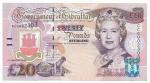 CEDULA DE GIBRALTAR - 20 POUNDS  - ANO DE 2004 - CATALOGO INTERNACIONAL: #31a - VALOR DE MERCADO R$ 700,00 - CONSERVAÇÃO: FE = FLOR DE ESTAMPA