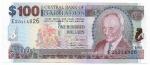 CEDULA DE BARBADOS - 100 DOLLARS  - ANO DE 2007 - CATALOGO INTERNACIONAL: #71a - VALOR DE MERCADO R$ 850,00 - CONSERVAÇÃO: FE = FLOR DE ESTAMPA