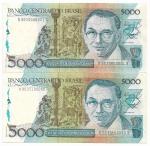 CEDULA DO BRASIL - CASAL PERFEITO = COMPOSTO POR 2 CEDULAS A PRIMEIRA DA SÉRIE  NUMERO 000001 E A SEGUNDA A ULTIMA DA MESMA SÉRIE NUMERO 100000 - 5.000 CRUZADOS - ANO DE 1988 - CATALOGO AMATO: C-195 - VALOR DE MERCADO R$ 600,00 - CONSERVAÇÃO: FLOR DE ESTAMPA - SEGUIMENTO DA NUMISMATICA MUITO APRECIADO E DIFICIL DE ENCONTRAR, O QUE VALORIZA A COLEÇÃO, EXISTE SOMENTE UM CASAL PARA CADA SÉRIE QUE É COMPOSTA DE 100.000 CEDULAS.
