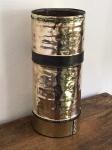 DECORAÇÃO - Bengaleiro adaptado de antigo pulverizador em metal dourado, gravado em relevo PULVERIZADOR FULMINANTE. Med. 52x22 cm.