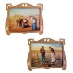 Pintura em vidro com banho de ouro. 16 x 23 cm.