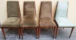 Lote composto de 4 cadeiras com estrutura em madeira, (1 com estofamento diferente) (Obs. As cadeiras necessitam manutenção na estrutura e novo estofamento) cada peça tem aprox. 91 x 44 x 45 cm