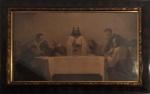 "Gebhard Fugel, serigrafia representando ""Santa Ceia"", medida interna 58 cm de altura x 1 m largura e medida total 80 cm x 1,22 m."