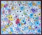 """W. Gonzales, óleo sobre tela """"vaso de flores"""" medindo 60 cm de altura por 73 cm."""