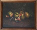 """RENEE KAISER - """"Uvas e romãs"""" óleo sobre tela colado em eucatex, assinado frente e verso e titulado, medida interna 30 x 39cm, medida total 36 x 45cm."""