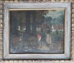 Rudolf Hirth du Frenes ( 1846 - 1916), óleo sobre cartão medida interna 37 cm por 48 cm e total com moldura 54 cm por 64 cm com antigos restauros.