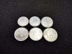 Todas as 6 Moedas da primeira serie de moedas do plano real do ano de 1994 sendo 1 centavo, 5 centavos, 10 centavos, 25 centavos, 50 centavos e 1 real