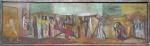 Samson Flexor (atribuído) (Moldávia, 1907 - São Paulo, 1971). VIA CRUCIS. ESTUDO PARA MURAL DE IGREJA. Década de 1950 C. Óleo sobre madeira. 22 x 72 cm. Sem assinatura. Pintor rumeno, judeu convertido ao Catolicismo, Samson Flexor radicou-se a partir de 1948 em São Paulo, pintando nos próximos anos vias sacras e cenas religiosas em várias igrejas paulistanas, como a de Nossa Senhora de Fátima e a do Perpétuo Socorro. No Rio, produziu cartões para os vitrais da Igreja da Santa Cruz em Copacabana.