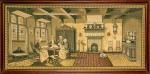 """AULA DE COSTURA. Tapeçaria ao estilo Gobelin. Emoldurada sobre eucatex. 76 x 153 cm. Cena baseada na pintura """"Sewing Class"""" (""""Aula de Costura""""), de David Adolf Constant Artz (1837-1890), pintor holandês da Escola de Haia, aluno do famoso Josef Israels e um dos primeiros pintores realistas da Holanda. Em perfeito estado de conservação."""