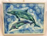 Renato Martins Dias (Bras. 1959 - Ativo) Golfinhos                                                                                                   Acrílica sobre tela.                                                                                                     Assinado, Renats.  c.i.d                                                                                                                                                      Med. 60x 80 cm.