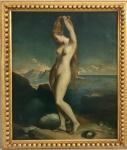 THEODORE CHASSERIAU - (20 de setembro de 1819 - 8 de outubro de 1856) - Fabulosa obra em óleo sobre tela representando figura feminina, assinada no canto inferior direito. Artista de alta cotação no mercado europeu. Medida total 77 x 66 cm. Medida da obra 65 x 55 cm.