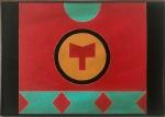 """RUBEM VALENTIM (Salvador 1922 - São Paulo 1991) - Elegante obra em acrílica sobre tela denominada """"Emblema"""" assinada, datada 1987 e localizada Brasilia, no verso. Protegida por moldura de madeira. Mede 50 x 35 cm."""