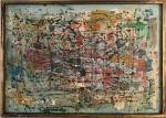 ANTONIO BANDEIRA (1922/1967) - Impressionante obra em óleo sobre cartão tela, de estilo contemporâneo, protegida por moldura de madeira e assinada no canto inferior direito. Datada 1965. Marcas do tempo. Medida total 68 x 48 cm.