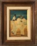 """PEDRO LUIZ CORREIA DE ARAUJO (Paris, França 1874 - Rio de Janeiro, RJ 1955) - Rara obra em óleo sobre placa representando """"capoeira"""", protegida por moldura de madeira, assinada no canto inferior esquerdo. Medida total 40 x 33 cm. Medida da obra 33 x 24 cm."""