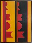 """RUBEM VALENTIM (Salvador, 1922 - São Paulo, 1991) - Magnifica obra em acrílica sobre tela, entitulada """"emblema"""" datada 1983 localizada Brasilia. Medidas 1.00 x 0,73 cm."""