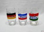 Lote de 3 copos em vidro com bandeiras das seleções da Italia, França e Alemanha. Medindo 14,5cm de altura.