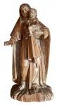 ARTE SACRA - Magnífica e grandiosa escultura de Virgem Maria com o menino Jesus executada em madeira e olhos de vidro . Europa, séc XIX. Grandes dimensões : 116 cm de altura aproximadamente. Menino Jesus medindo 30 cm de altura.