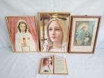 Quatro itens , sendo 3 quadros com gravura 2 representando N. Senhora e 1 representando Jesus ofertando a comunhão e oratório com imagem de N, Senhora de Fátima.