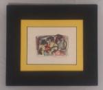 Aquarela sobre papel com assinatura não identificada, medida interna 20,5 cm x 15,5 cm e medida total 38,5 cm x 33 cm.