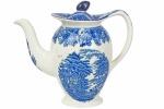 """ENOCH WOODS ENGLISH SCENERY - WOODS & SONS - ENGLAND - Belíssimo Bule de Café, em fina porcelana inglesa, no padrão """"Blue & White"""", com decoração dita """"Fazendinha"""". Dimensões: 18 cm X 21 cm X 10 cm (Alt./Comp./Diâm.int.) xxvi"""