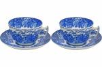 """ENOCH WOODS ENGLISH SCENERY - WOODS & SONS - ENGLAND - Par de Belíssima Chávenas, em fina porcelana inglesa, no padrão """"Blue & White"""", com decoração dita """"Fazendinha"""". Dimensões: 6 cm X 9,5 cm (Alt./Diâm.). xl"""