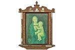 Antigo Oratório, com Gravura, retratando Nossa Senhora com Menino Jesus, possivelmente de origem russa, circundada por fita de veludo grená, moldura em madeira nobre, ricamente esculpida com delicada pintura floral feita à mão ao redor, na moldura colagem de recortes de espelhos, Dimensões: 43,5 cm X 30 cm; com moldura 62 cm X 46,5 cm (Comp./Larg.). Faltam recortes de espelho. lxxx