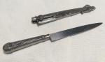 Legítima faca gaúcha toda em aço inox com cabo e bainha decorados com motivos regionais, nunca usada. No estado
