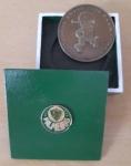 Medalha do Palmeiras em bronze sólido pesando 36g em caixa patinada