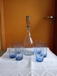 Conjunto para água de cristal tcheco azul com 6 copos (garrafa com 35cm e copos 13cm), sem uso