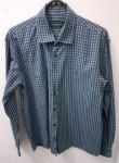 VR colezioni, camisa M xadrezinha azul de algodão egípcio, compr: 60cm / larg: 48cm / manga: 58cm