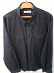 Calvin Klein, camisa 4 de algodão riscadinho marinho, compr: 65cm / larg: 57cm / manga: 60cm