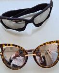 Lote com 2 óculos espelhados sendo 1 preto e 1 com armação tipo tartaruga, ambos sem uso