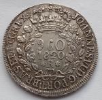 Moeda de Prata, 960 Réis 1820 R, sobre 8 Reales México