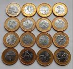 Dezesseis Moedas Real, 15 moedas das Olimpiadas Diferentes e uma moeda 25 anos plano Real Beija-flor
