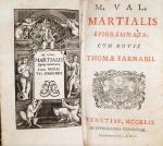 Thomae Farnabii - M. Val. Martialis Epigrammata - Venetiis 1749 - Ilustrado com frontispício - Encadernado - Conservação: Muito bom exemplar, sinal de acidificação/amarelamento, marcas do tempo.