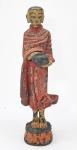 BURMA - Antiga e grande escultura de Monge em pé, esculpida em bloco único de madeira com policromias. Séc. XX. Altura: 55 cm PEÇAS ORIGINAIS, AUTENTICAS -OPORTUNIDADE https://www.1stdibs.com/furniture/asian-art-furniture/sculptures-carvings/finely-carved-complete-burmese-buddha-monk-set/id-f_9356953/