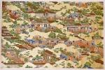 Grande e exuberante gravura japonesa sobre papel algodão, medindo 67 x 100 cm, retratando cidade com paisagens, personagens e nuvens. Riquíssima policromia sobre fundo dourado. Detalhes minuciosos retratando o dia a dia. Autor não identificado. Item raro de encontrar no mercado.