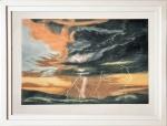 """SUSAN JAMERSON (Inglaterra, 1944) - """"LIGHTING STORM II"""" -  Gravura pela rara técnica de mezzotint (talho doce e ponta seca), numerada 1/200, assinada e titulada de punho. Importante artista inglesa. Med. 43 x 57 cm Moldura em madeira laqueada branca. Med. 47 x 62 cm. SAIBA MAIS SOBRE A ARTISTA  --------> https://www.annexgalleries.com/artists/biography/1128/Jameson/Susan"""