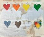"""JIM DINE (EUA, 1935) - ART POP - """"EIGHT HEARTS"""" - Litogravura com tinta vinílica e metalizada s/ papel semi brilho, assinada e numerada 36/125. Med. 63.5 x 76.2 cm. Sem moldura. VER MAIS -------> https://www.chairish.com/product/383073/jim-dine-eight-hearts-lithograph ---------> https://www.mutualart.com/Artwork/Eight-Hearts/AB9B97B4D50B9BF1  --------> https://www.worthpoint.com/worthopedia/jim-dine-hearts-1970-screenprint-400581002  ---> SOBRE O ARTISTA:  JIM DINE foi um dos grandes artistas originais que definiram a POP ART AMERICANA na década de 1960. Como JASPER JOHNS e ANDY WARHOL, Dine se apropriou de imagens e ícones americanos por excelência. Ele usou essas formas onipresentes e familiares como base para composições ousadas e coloridas que flertavam com a abstração. Dine (n. 1935) é um dos únicos sobreviventes do grupo de artistas que redirecionou a pintura americana nos anos 60. Seu trabalho mais estimado são variações e explorações do motivo do coração. Em 8 Hearts / Look Dine mais uma vez demonstra seu uso dinâmico e compreensão da cor."""