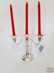 Candelabro 3 velas Base circular em Prata 90 modelo Italiano acompanham 3 velas. Medida: 28 cm comprimento x 23 cm altura.