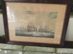 Gravura The Honourable East India Company do autor W.J. Huggins com moldura em madeira de jacaranda e vidro frontal. Medindo a moldura 85,5cm x 66cm.