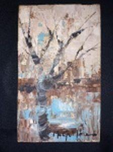 """M. GUILHON (Século XX) """"Árvore"""" óleo sobre tela, 16,5 x 10cm. Assinado. Convite para a Inauguração do """"Caquinho Atelier"""", Gávea."""