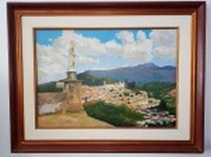 """Carlos AUGUSTO da Silva Neto (Século XX) """"Vila Rica - Ouro Preto"""" óleo sobre tela, 50 x 70cm. Assinado e titulado no verso. Moldura 75 x 96cm."""