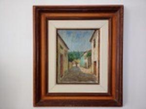 """JOSÉ MARIA DE ALMEIDA (Beira Alta, Portugal 1906 - Uberlândia, MG 1995) """"Cidade do interior em Portugal"""" óleo sobre tela, 35 x 27,5cm. Assinado e localizado, frente e verso. Moldura 66 x 58cm."""