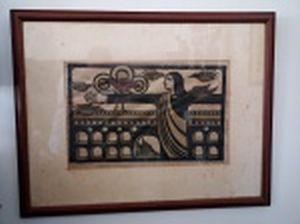 """SANDRA Santos (Recife, PE 1944) """"O Cristo e a Lapa"""" xilogravura colorida, 4/50, 38 x 58cm. Assinada, localizada e datada Rio 1979. Moldura envidraçada 72 x 82cm."""